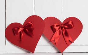 Picture red, heart, bow, Valentine's Day