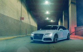 Picture audi, white, night, rs7