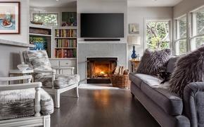 Wallpaper sofa, chair, fireplace, living room