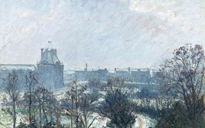 Picture picture, the urban landscape, Camille Pissarro, The Park of the Louvre and the Flora Pavilion …