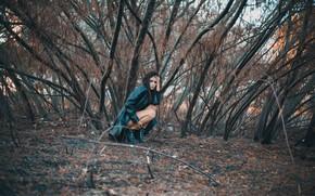 Wallpaper autumn, girl, mood, the situation, Valentina Principles, trees, squat