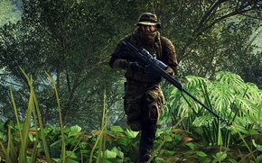 Picture gun, game, soldier, weapon, jungle, Battlefield, rifle, uniform, seifuku, Battlefield 4, Battlefield IV