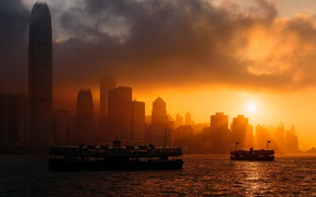 Picture city, China, sky, sea, ocean, sunset, clouds, sun, Hong Kong, boats, buildings, skyscrapers, bay, cityscape, …