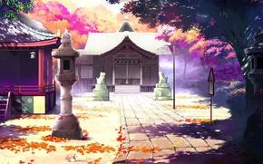 Picture autumn, leaves, Japan, track, lantern, temple, statues