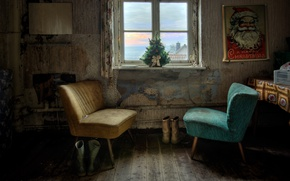 Wallpaper poster, chairs, tree