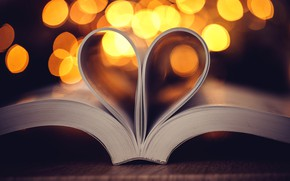 Picture background, heart, leaves, book