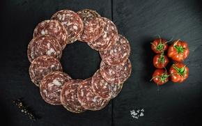 Picture pepper, tomato, sausage, salt, salami