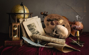 Picture pen, violin, watch, skull, candle, tube, palette, still life, globe, the manuscript