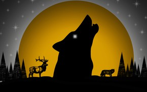 Picture forest, the moon, wolf, deer, picture