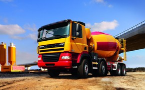 Picture construction, DAF, DAF, platform, EEV, 8x4, concrete mixer, yellow-red, DAF CF85.410 FAD