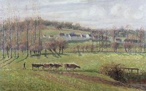 Picture home, picture, cows, Camille Pissarro, Summer Landscape. Eragny