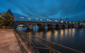 Picture night, bridge, lights, river, tower, lights, Netherlands, promenade, Maastricht