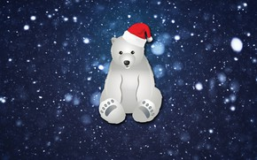 Picture Winter, Minimalism, Snow, New Year, Bear, Background, Holiday, Mood, Polar bear