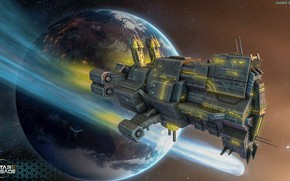 Wallpaper space, ship, planet, stars, some ship