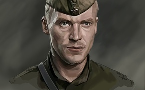Wallpaper portrait, art, actor, Shtrafbat, Alexey Serebryakov