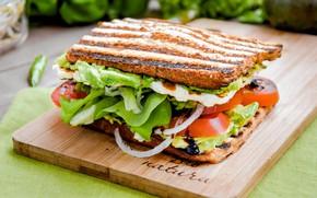 Picture meat, sandwich, tomato, salad
