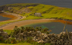 Wallpaper stones, the Peninsula, lake Eriboll, Scotland, house, the fence