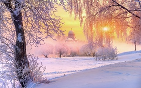 Picture winter, frost, the sun, light, snow, trees, nature, temple, Russia