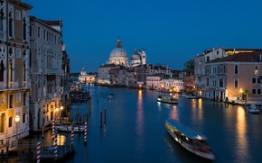 Picture night, lights, Italy, Venice, Cathedral, channel