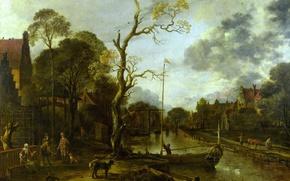 Wallpaper landscape, Aert van der Neer, Art van der NEER, Evening view of the River near ...