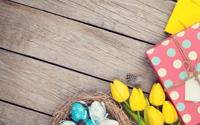 Picture Easter, tulips, yellow, wood, tulips, spring, Easter, eggs, decoration, Happy, tender