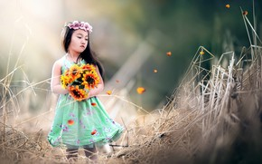 Picture Asia, bouquet, girl