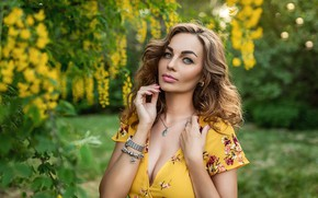 Picture greens, look, decoration, background, model, portrait, makeup, garden, dress, hairstyle, brown hair, beauty, bokeh, A …