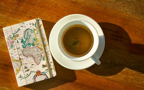 Picture travel, coffee, Cup, Notepad