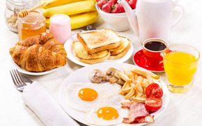 Picture Glass, Coffee, Plate, Bananas, Cup, Food, Breakfast, Juice, Scrambled eggs, Bread, Croissant