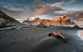 Picture the sky, clouds, mountain, Iceland, Iceland, Vesturhorn