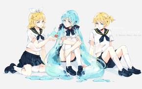 Picture tenderness, liquid, anime, art, friends, Vocaloid, Vocaloid, characters