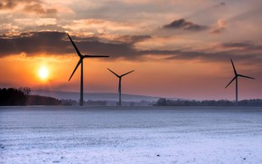 Picture winter, sunset, windmills