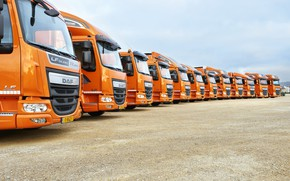 Picture the sky, Parking, a lot, DAF, DAF, Space Cab, modification, types, Super Space Cab, XF, …