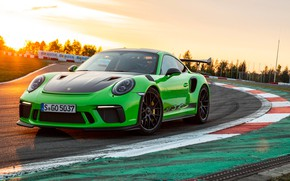 Picture sunset, 911, Porsche, racing track, 2018, GT3 RS, Weissach Package