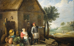 Picture oil, picture, canvas, David Teniers The Younger, A farmer with a Wife and Child at …