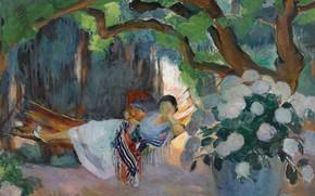Picture picture, genre, Henri Lebasque, Henri Lebacq, Young Woman in hammock