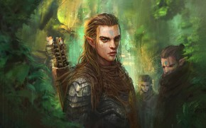 Wallpaper fantasy, art, Trung Tin Shinji, Elf prince, elf, forest
