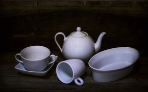 Picture kettle, Cup, still life, set
