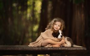 Picture friendship, girl, puppy, curls