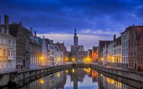 Picture night, home, channel, Belgium, Bruges, Jan van eyck square