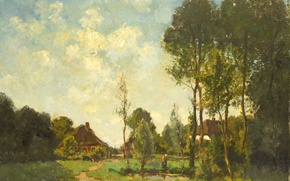 Picture landscape, tree, oil, picture, Farmhouses in a Wooded Area, John Embrosius van de Wetering de …