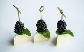 Picture cheese, mint, BlackBerry, appetizer, canapés