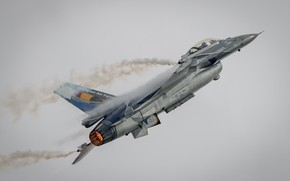 Picture the sky, the plane, combat, the gray sky, F-16A