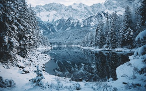 Wallpaper winter, forest, snow, mountains, nature, lake