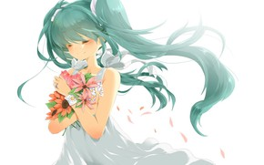 Picture bouquet, white background, vocaloid, hatsune miku, white dress, long hair, wildflowers, ring, closed eyes, Hatsune …