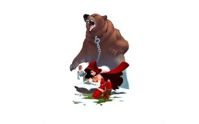 Picture girl, bear, mouth, chain, knife, legs