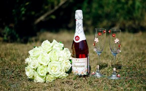 Picture bouquet, champagne, Bakaly