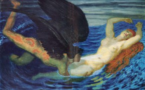Picture 1927, redhead woman, Franz von Stuck, The wind and the wave., the angel with black …