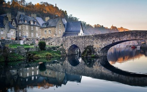 Picture autumn, trees, bridge, river, France, home, Brittany, Port of Dinan