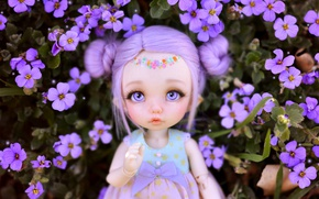 Wallpaper doll, toy, flowers